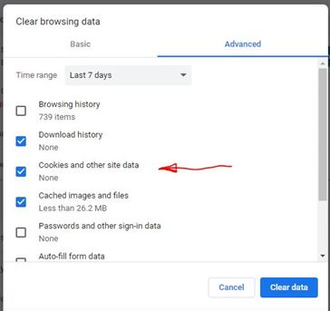 Google Chrome - Clearing Cookies and other cached data 2